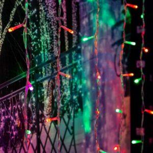 """235-349 Гирлянда """"Светодиодный Дождь"""" 2х2м, свечение с динамикой, прозрачный провод, 230 В, диоды RGB, 200 LED"""