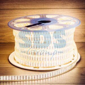 142-204 LED Лента 220В, 7. 5×20мм, IP67, SMD 2835, 276 LED/м, Теплый белый, 50м