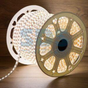 142-202 LED Лента 220В, 6. 5×17мм, IP67, SMD 2835, 180 LED/м, Теплый белый, 100м
