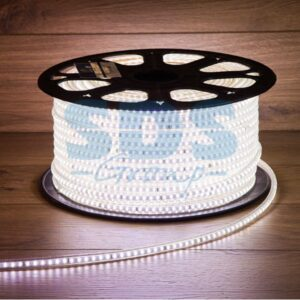 142-605 LED лента 220В, 10*7 мм, IP65, SMD 3528, 60 LED/m Белая, бухта 100 м