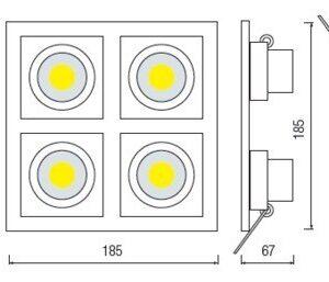 Светодиодный светильник встраиваемый 32вт SABRINA-32 HL6724L