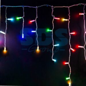 245-209 Гирлянда Айсикл (бахрома) светодиодный, 4,8 х 0,6 м, прозрачный провод, 230 В, диоды RGB, 176 LED