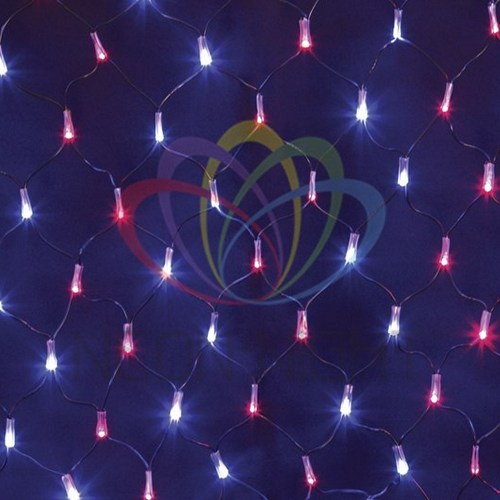 """215-013 Гирлянда """"Сеть"""" 2х0, 7м, черный ПВХ, 176 LED Красные/Синие"""