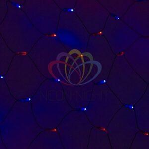 """215-023 Гирлянда """"Сеть"""" 2х1, 5м, черный ПВХ, 288 LED Красные/Синие"""