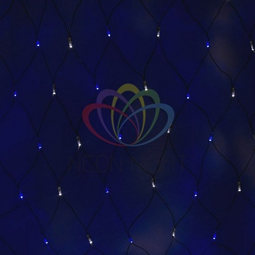 """215-032 Гирлянда """"Сеть"""" 2, 5х2, 5м, черный ПВХ, 432 LED Белые/Синие"""