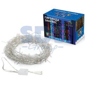"""235-069 Гирлянда """"Светодиодный Дождь"""" 2*3 м, свечение с динамикой, прозрачный провод, 230 В, диоды Мультиколор"""