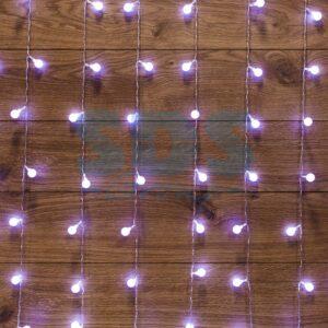 """235-045 Гирлянда """"Светодиодный Дождь"""" 1,5*1,5 м, с насадками шарики, свечение с динамикой, прозрачный провод, 230 В, диоды Белый"""