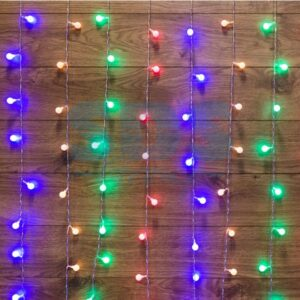 """235-049 Гирлянда """"Светодиодный Дождь"""" 1,5*1,5 м, с насадками шарики, свечение с динамикой, прозрачный провод, 230 В, диоды Мультиколор"""
