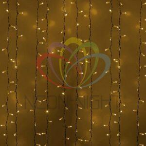 """235-131 Гирлянда """"Светодиодный Дождь"""" 2х3 м, постоянное свечение, белый провод, 230 В, диоды ЖЁЛТЫЕ, 760 LED"""
