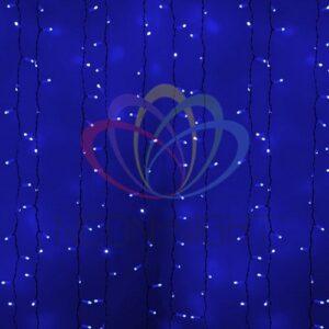 """235-133 Гирлянда """"Светодиодный Дождь"""" 2х3м, постоянное свечение, белый провод, 230 В, диоды СИНИЕ, 760 LED"""