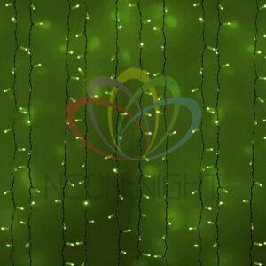 """235-134 Гирлянда """"Светодиодный Дождь"""" 2х3м, постоянное свечение, белый провод, 230 В, диоды ЗЕЛЁНЫЕ, 760 LED"""