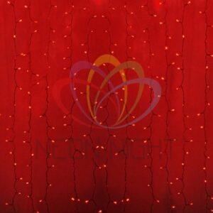 """235-152-6 Гирлянда """"Светодиодный Дождь"""" 2х3м, постоянное свечение, прозрачный провод, 230 В, диоды КРАСНЫЕ, 448 LED"""