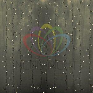 """235-156-6 Гирлянда """"Светодиодный Дождь"""" 2х3м, постоянное свечение, прозрачный провод, 230 В, диоды ТЕПЛО-БЕЛЫЕ, 448 LED"""