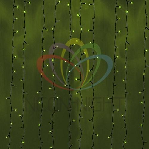 """235-164 Гирлянда """"Светодиодный Дождь"""" 2х6м, постоянное свечение, черный провод, 230 В, диоды ЗЕЛЕНЫЕ, 1500 LED"""
