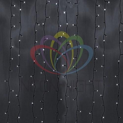 """235-165 Гирлянда """"Светодиодный Дождь"""" 2х6м, постоянное свечение, черный провод, 230 В, диоды БЕЛЫЕ, 1500 LED"""