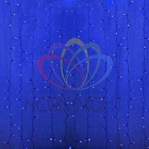 """235-173 Гирлянда """"Светодиодный Дождь"""" 2х6м, постоянное свечение, прозрачный провод, 230 В, диоды СИНИЕ, 1500 LED"""