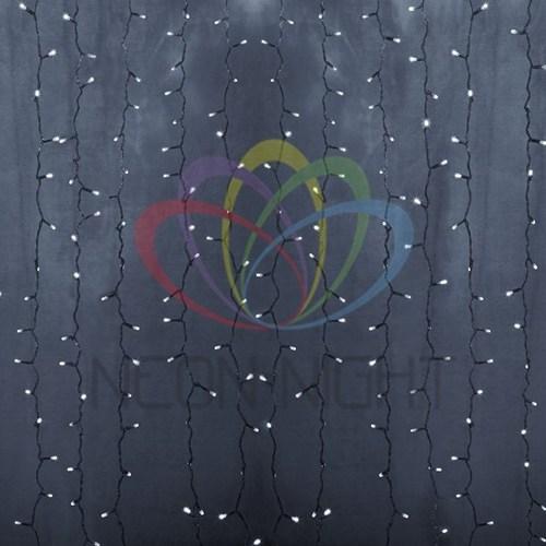 """235-175 Гирлянда """"Светодиодный Дождь"""" 2х6м, постоянное свечение, прозрачный провод, 230 В, диоды БЕЛЫЕ, 1500 LED"""