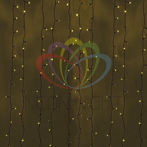 """235-181 Гирлянда """"Светодиодный Дождь"""" 2х9м, постоянное свечение, черный провод, 230 В, диоды ЖЕЛТЫЕ, 2200 LED"""