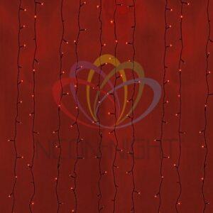 """235-182 Гирлянда """"Светодиодный Дождь"""" 2х9м, постоянное свечение, черный провод, 230 В, диоды КРАСНЫЕ, 2200 LED"""