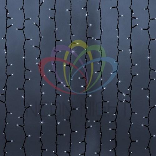 """235-186 Гирлянда """"Светодиодный Дождь"""" 2х9м, эффект мерцания, черный провод, 230 В, диоды БЕЛЫЕ, 2200 LED"""