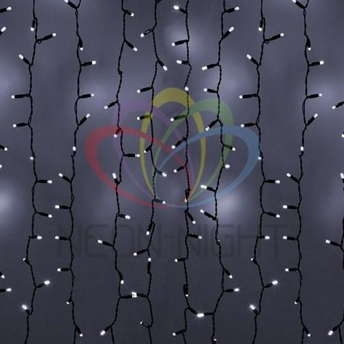 """235-201 Гирлянда """"Светодиодный Дождь"""" 2х3м, эффект мерцания, черный провод, 230 В, диоды БЕЛЫЕ, 760 LED"""