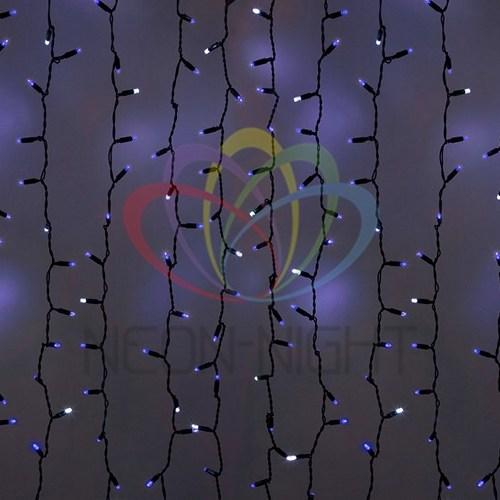 """235-203 Гирлянда """"Светодиодный Дождь"""" 2х3м, эффект мерцания, черный провод, 230 В, диоды СИНИЕ, 760 LED"""