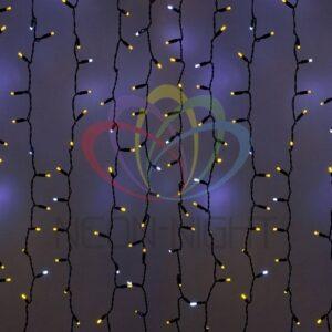 """235-205 Гирлянда """"Светодиодный Дождь"""" 2х3м, эффект мерцания, черный провод, 230 В, диоды ЖЁЛТЫЕ, 760 LED"""