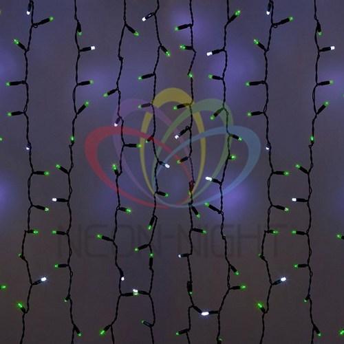 """235-206 Гирлянда """"Светодиодный Дождь"""" 2х3м, эффект мерцания, черный провод, 230 В, диоды ЗЕЛЁНЫЕ, 760 LED"""