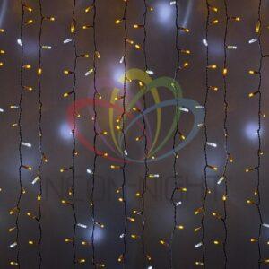 """235-215 Гирлянда """"Светодиодный Дождь"""" 2х3м, эффект мерцания, белый провод, 230 В, диоды ЖЁЛТЫЕ, 760 LED"""