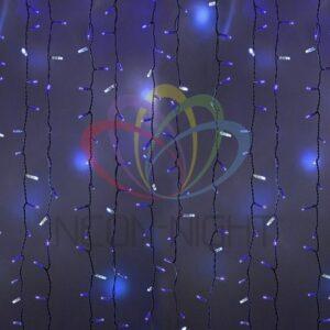 """225-233 Гирлянда """"Светодиодный Дождь"""" 2х1, 5м, эффект мерцания, черный провод, 230 В, диоды СИНИЕ, 360 LED"""