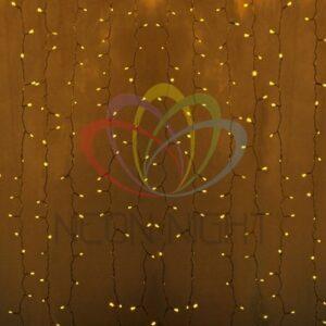"""235-301-6 Гирлянда """"Светодиодный Дождь"""" 2х1, 5м, постоянное свечение, прозрачный провод, 230 В, диоды ЖЁЛТЫЕ, 192 LED"""