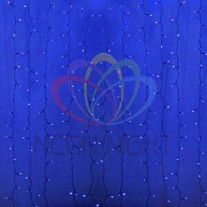 """235-303-6 Гирлянда """"Светодиодный Дождь"""" 2х1, 5м, постоянное свечение, прозрачный провод, 230 В, диоды СИНИЕ, 192 LED"""