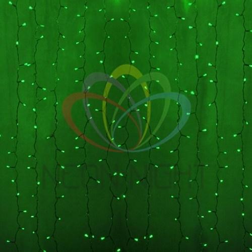 """235-304-6 Гирлянда """"Светодиодный Дождь"""" 2х1, 5м, постоянное свечение, прозрачный провод, 230 В, диоды ЗЕЛЁНЫЕ, 192 LED"""
