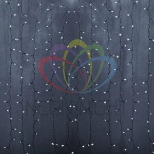 """235-305-6 Гирлянда """"Светодиодный Дождь"""" 2х1,5м, постоянное свечение, прозрачный провод, 230 В, диоды БЕЛЫЕ, 192 LED"""