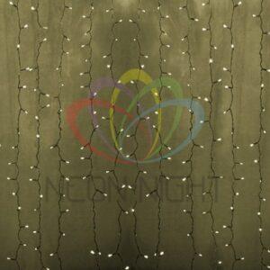 """235-306-6 Гирлянда """"Светодиодный Дождь"""" 2х1, 5м, постоянное свечение, прозрачный провод, 230 В, диоды ТЁПЛО-БЕЛЫЕ, 192 LED"""