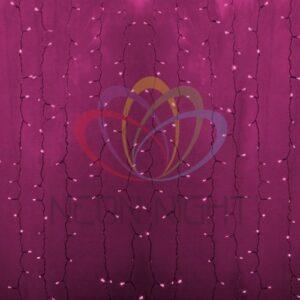 """235-307 Гирлянда """"Светодиодный Дождь"""" 2х1, 5м, постоянное свечение, прозрачный провод, 230 В, диоды РОЗОВЫЕ, 360 LED"""