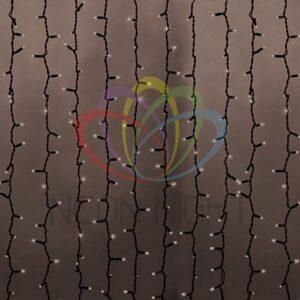 """237-126 Гирлянда """"Светодиодный Дождь"""" 2х1,5м, постоянное свечение, черный провод """"КАУЧУК"""", 230 В, диоды ТЕПЛЫЙ БЕЛЫЙ, 360 LED"""