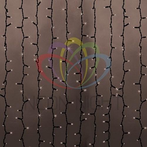"""237-146 Гирлянда """"Светодиодный Дождь"""" 2х3м, постоянное свечение, черный провод """"КАУЧУК"""", 230 В, диоды ТЁПЛО-БЕЛЫЕ, 760 LED"""