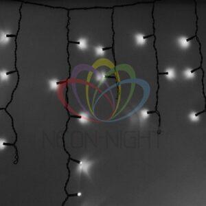 255-032 Гирлянда Айсикл (бахрома) светодиодный, 2, 4 х 0, 6 м, черный провод, 230 В, диоды белые, 88 LED