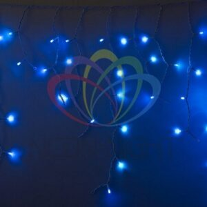 255-035Гирлянда Айсикл (бахрома) светодиодный, 2, 4х0, 6м, эффект мерцания, белый провод, 230 В, диоды СИНИЕ, 88 LED