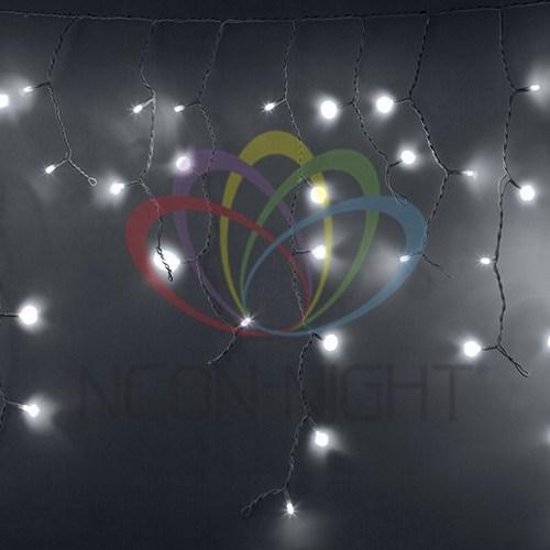 255-036 Гирлянда Айсикл (бахрома) светодиодный, 2, 4х0, 6м, эффект мерцания, белый провод, 230 В, диоды БЕЛЫЕ, 88 LED