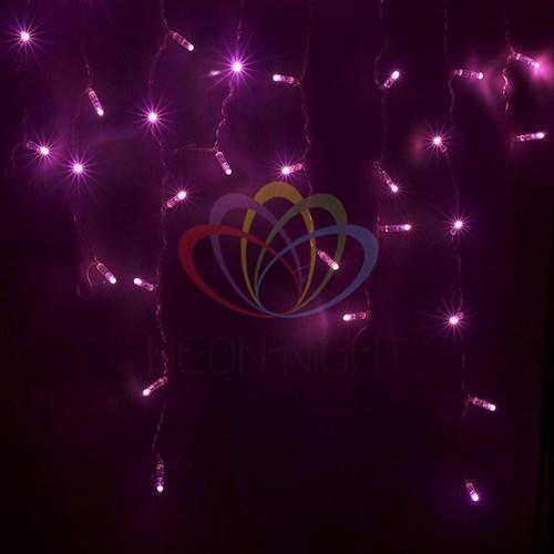 255-039 Гирлянда Айсикл (бахрома) светодиодный, 2, 4 х 0, 6 м, белый провод, 230 В, диоды розовые, 88 LED