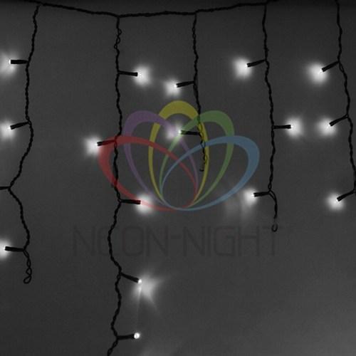 255-135 Гирлянда Айсикл (бахрома) светодиодный, 4, 8 х 0, 6 м, черный провод, 230 В, диоды белые, 176 LED