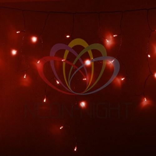 255-142 Гирлянда Айсикл (бахрома) светодиодный, 4, 8 х 0, 6 м, прозрачный провод, 230 В, диоды красные, 176 LED