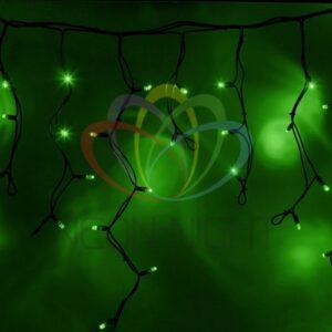 """255-224 Гирлянда Айсикл (бахрома) светодиодный, 4, 0 х 0, 6 м, черный провод """"КАУЧУК"""", 230 В, диоды зеленые, 128 LED"""