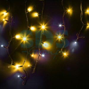 """255-231 Гирлянда Айсикл (бахрома) светодиодный, 4,0 х 0,6 м, с эффектом мерцания, черный провод """"КАУЧУК"""", 230 В, диоды желтые"""