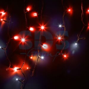 """255-232 Гирлянда Айсикл (бахрома) светодиодный, 4,0 х 0,6 м, с эффектом мерцания, черный провод """"КАУЧУК"""", 230 В, диоды красные, 128 LED"""