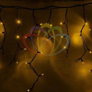"""255-241 Гирлянда Айсикл (бахрома) светодиодный, 5, 6 х 0, 9 м, черный провод """"КАУЧУК"""", 230 В, диоды желтые, 240 LED"""