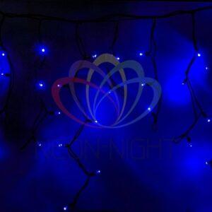 """255-243 Гирлянда Айсикл (бахрома) светодиодный, 5, 6 х 0,9 м, черный провод """"КАУЧУК"""", 230 В, диоды синие, 240 LED"""