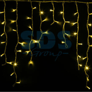 "255-281 Гирлянда Айсикл (бахрома) светодиодный, 5,6 х 0,9 м, белый провод ""КАУЧУК"", 230 В, диоды желтые, 240 LED"